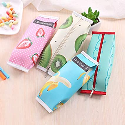 Katoot@ 4pcs Kawaii Cheese Mango pencil cases for girls Cute Black Chinese Green onions PU leather pen bag Estuches office school supplies
