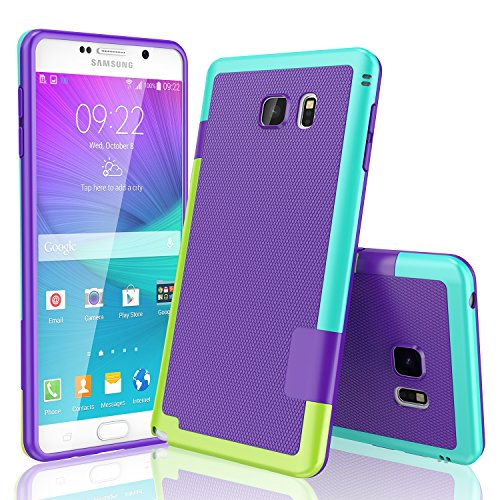 Galaxy Note 5 Case, TILL(TM) Ultra Slim 3 Color Hybrid Impact Anti-slip Shockproof Soft TPU Hard PC Bumper Extra Front Raised Lip Case Cover for Samsung Galaxy Note 5 V SM-N920 [Purple]