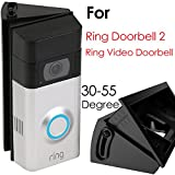 Adjustable (30 to 55 Degree) Angle Mount for Ring Video Doorbell 2 / Ring Wi-Fi Enabled Video Doorbell, QIBOX Angle Adjustment Adapter Corner Kit Mounting Plate Bracket Wedge Kit