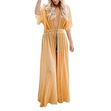 Mujer Vestido Largo Bikini Cubrir Cardigan Cuello En V ...