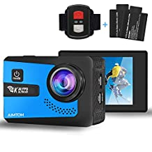 AIMTOM Sports Camera 4K Ultra HD 98FT Waterproof WiFi Action Video Cam 2 inch LCD Screen 16MP Sony Sensor, 170 Degree Wide Angle with Remote Control 2 Rechargeable Batteries