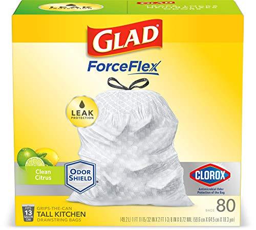 🥇 Glad Tall Kitchen Drawstring Trash Bags – Antimicrobial Protection 13 Gallon White Trash Bag