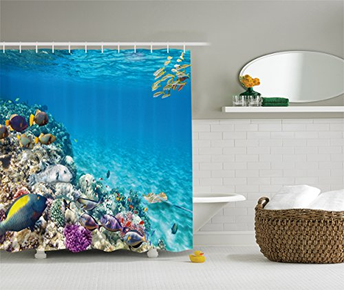 Ambesonne Ocean Decor Collection, Clear Underwater Sea Animal World with Corals and Tropical Fishes and a Stingray Egyptian Sea Picture, Polyester Fabric Bathroom Shower Curtain, Aqua Blue Yellow (Fish Tropical Curtain Shower)