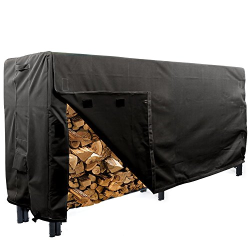 KHOMO Gear - Heavy Duty Log Rack Cover - 8 Feet - Panther Series - Black (Classic Accessories Veranda Log Rack Cover 8 Feet)
