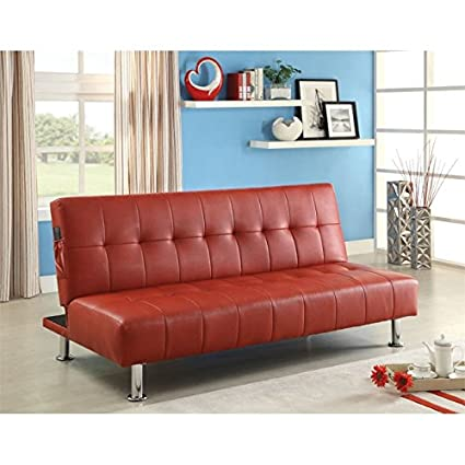 Amazon.com: Furniture of America Hollie Faux Leather Sleeper Sofa ...