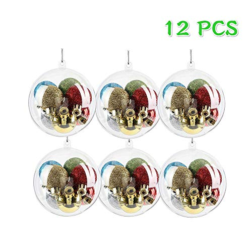ShellKingdom Fillable Ornament Ball,Clear Transparent Ball&Plastic DIY Bauble Ball for Home/Wedding/Party/Tree Decoration/Soap Bath Bomb 12PCS -