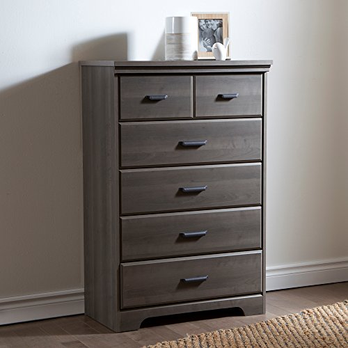 South Shore Versa Collection 5-Drawer Dresser, Gray Maple with Antique Handles ()