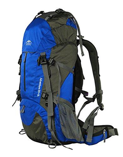 Topsky Outdoor Sports Waterproof Hiking Climbing Internal Frame Backpack Unisex 40L 50L 60L Lightweight Trekking Travel Daypacks with Rain Cover (Blue, 50L)