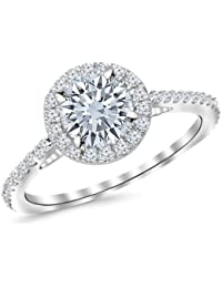 1.9 Carat Classic Halo Diamond Engagement Ring with a 1.5 Carat I-J I1 Center