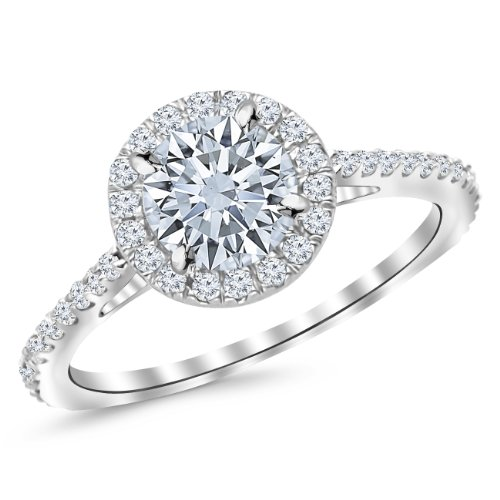 1.9 Carat Classic Halo Diamond Engagement Ring 14K White Gold with a 1.5 Carat I-J I1 Round Brilliant Cut/Shape Center