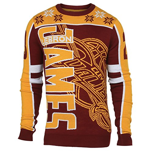 KLEW NBA Cleveland Cavaliers James L. #23 2015 Player Ugly Sweater, XX-Large, Red