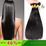 Encii Hair 3 Bundles Brazilian Virgin Straight Human Hair Natural Color(10 12 14 Inch)