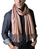 Anika Dali Men's Classic City Stripe Scarf with Tassels, Silky Soft (Brown)