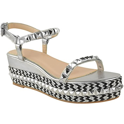 Studded Thirsty Fashion Sandals Strappy Metallic Shoes Womens Size Wedge Silver wEdqF1q