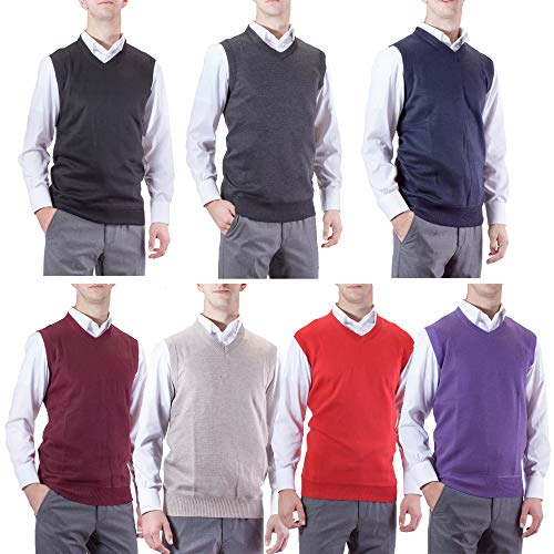 Alberto Cardinali Mens Solid Color V-Neck Sweater Vest