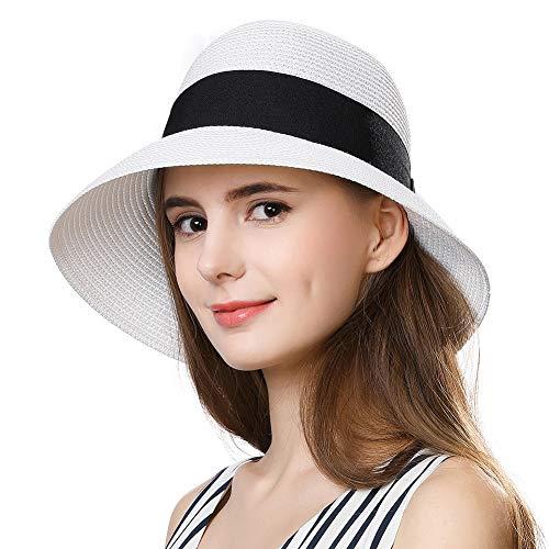 c872d4f98 Comhats Summer Straw Sun Hats Women Foldable UPF 50 UV Protection ...