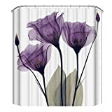 Shower Curtains with Pink in Them Grace Duet Fabric Shower Curtains Liners Waterproof Stall Shower Curtains for Bathroom,Printing Bath Curtains 72 x 72 inches (Tulip)