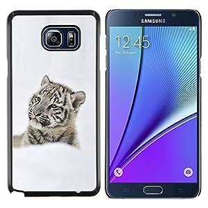 Caucho caso de Shell duro de la cubierta de accesorios de protección BY RAYDREAMMM - Samsung Galaxy Note 5 5th N9200 - Tigre pensativo en la nieve tigre de la nieve