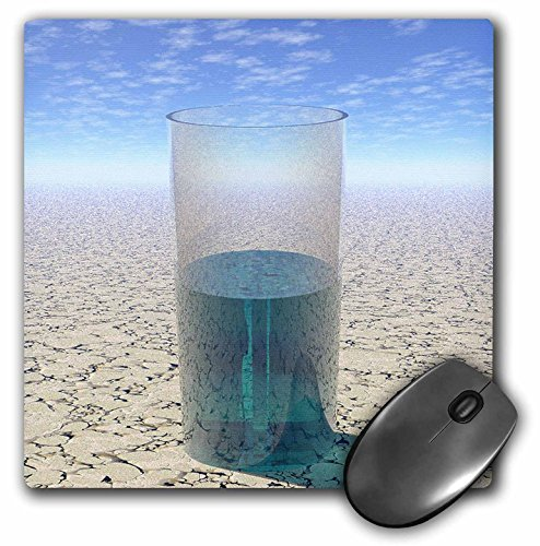 3dRose Perkins Designs Surreal - Glass of Water shows a half full glass of water on parched desert surface under sun - MousePad (mp_19470_1)
