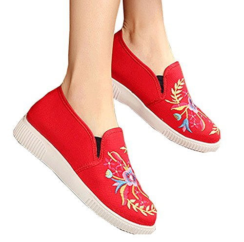 Avacostume Femmes Casual Broderie Douce Semelle Souple Slip-on Mocassins Sneakers Rouge