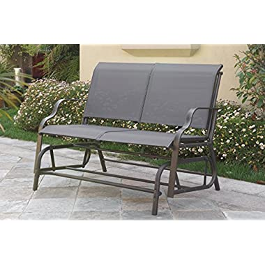 Outdoor Patio Swing Glider Loveseat Bench Chair Steel Frame in Dark Grey