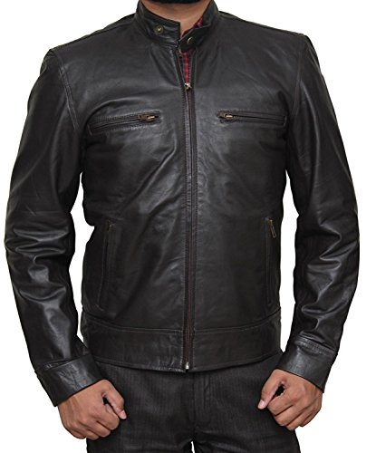 Chicago PD Jason Beghe Costume Gift Ideas Dark Brown Real Leather Jacket For Him (Chicago Costume Ideas)