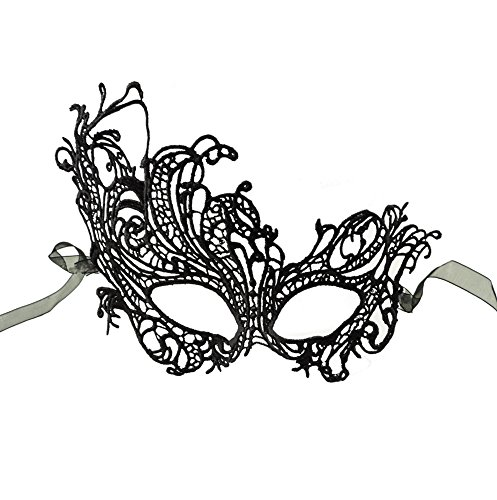 [Black Sultry Embroidered Lace Venetian Masquerade Mask] (Black Lace Masquerade Masks)