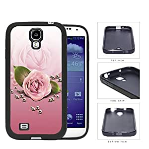 Rose Flower And Pearls In Pink Gradient Rubber Silicone TPU Cell Phone Case Samsung Galaxy S4 SIV I9500