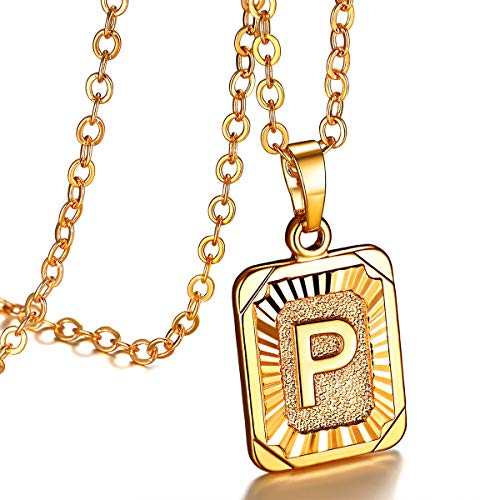 FOCALOOK Initial Letter Pendant Necklace Mens Womens Yellow 18K Gold Plated Square Script Capital Initial Jewelry Stainless Steel Ajustable Gold Link Chain 22 Inch Monogram Necklace Gift(Alphabet P)