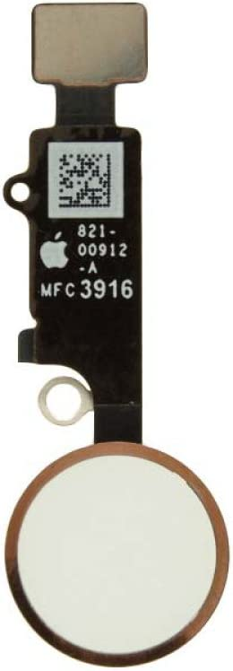 Home Button Assembly for Apple iPhone 7 CDMA /& GSM with Glue Card White with Rose Gold Ring