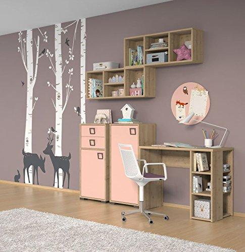 Kinderzimmer Komplett - Set V Benjamin, 5-teilig, Farbe: Buche / Rosa