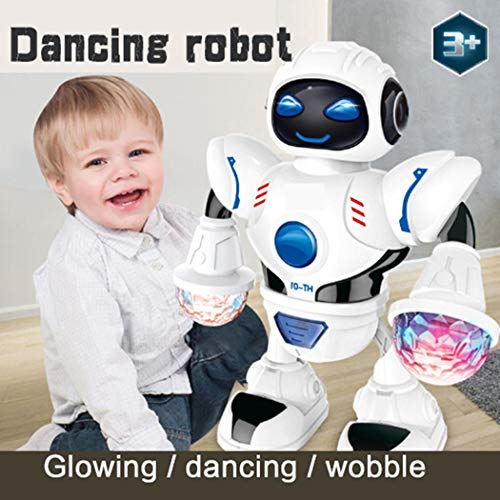(IEnkidu Toddler Multifunctional LED Smart Robot Dance Music Kids Education Toys (White))