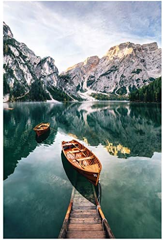 Qeho Jigsaw Puzzles for Adults 1000 Piece - Mountain Lake Boats - Wooden Jigsaw Puzzle Educational Family Game Toys Gift for Adults Teens