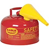 """Eagle UI-25-FS Type I Metal Safety Can with F-15 Funnel, Flammables, 11-1/4"""" Width x 10"""" Depth, 2-1/2 Gallon Capacity, Red"""