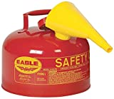 Eagle UI-25-FS Type I Metal Safety Can with F-15 Funnel, Flammables, 11-1/4'' Width x 10'' Depth, 2-1/2 Gallon Capacity, Red