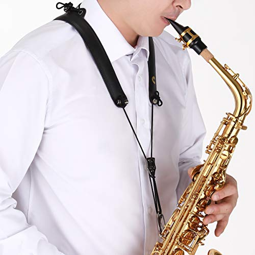 CIELmusic SMART ORIGINAL Saxophone Adjustable Neck Strap, Highly Reduces Neck Pain, Aluminum Dual Frame, Soft Synthetic Leather, Adjustable to All Sizes ()
