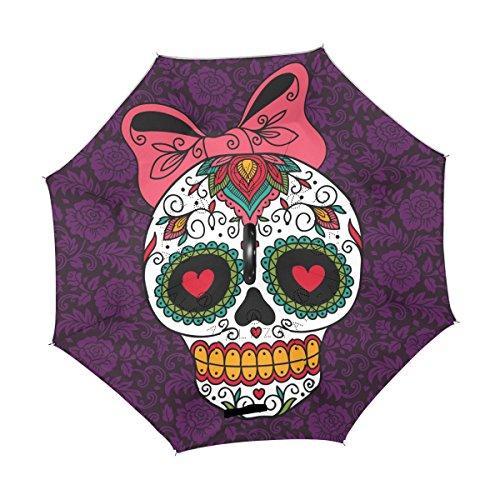 ALAZA Mexican Skull Girl Flower Floral Inverted Umbrella, Large Double Layer Outdoor Rain Sun Car Reversible Umbrella