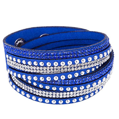 (17 Colors Punk Style Buckle Leather Rivet Bracelets&Bangles for Women Men Unisex Multicolor Blue)