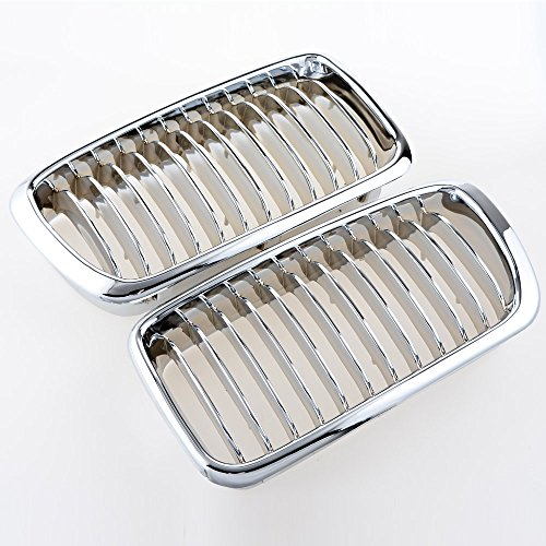 Price comparison product image 2pcs Chrome Black Euro Front Center Kidney Grille Grill LH RH For 95-01 BMW E38 4DR Sedan 740i 740iL 750iL