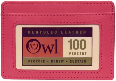 OWL Minimalist Thin Slim Leather Credit Card ID Holder Small Business Wallet for Men + Women