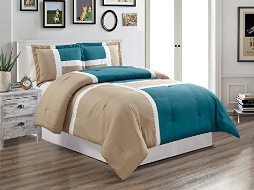 Grand Linen 3 Piece Teal Blue/Grey / White Goose Down Alternative Color Panel Oversize Comforter Set, King Size Microfiber Bedding, Includes 1 Oversize Comforter and 2 Shams