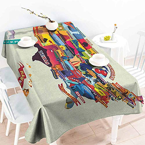 familytaste Wanderlust,Vintage tablecloths US Map Seashore and Sunflowers Tourist Attractions Jersey Cow Milk Corn Field 60