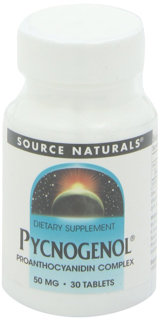 Source Naturals Pycnogenol 50mg Proanthocyanidin Complex Herbal Antioxidant French Maritime Pine Bark Extract - 30 Tablets