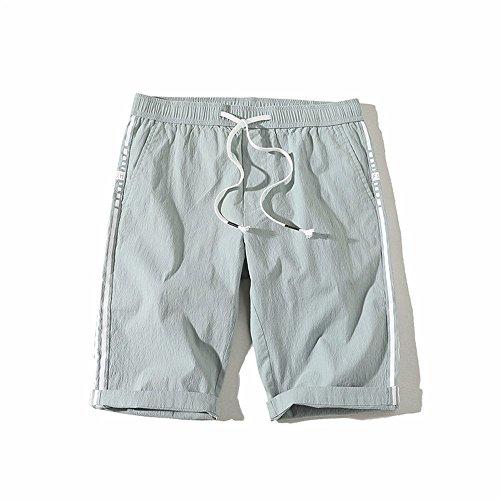 XXSZKAA-shorts Summer men's Straight tube exercice pantalons/Stripe corde shorts de taille élastique/pantalons de plage