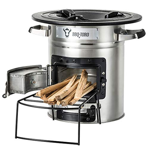 BBQ-Toro Rocket Stove RAKETE 2 – Portable Biomass, Wood Burning and Charcoal Survial Camp Stove for Camping and Outdoor