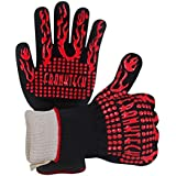 Franktech BBQ Gloves Oven Mitt,Hand Protection from Grilling,Barbeque,Fires,Microwave Oven and Other Hot Work in Kitchen,Outdoor Camping and Garden Party,Heat and Flame Resistant up to 932°F (Red)