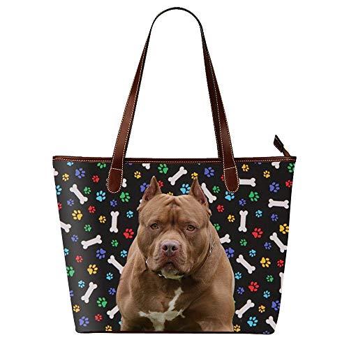 Brown American Pitbull Terrier Dog Pattern Print Handbags Tote Bag Waterproof Shoulder Bag for Women, Dog Mom Gifts ()