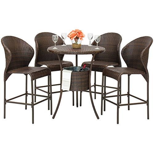 Best Choice Products 5-Piece Outdoor Patio Furniture Wicker Bistro Bar Table Set w/ Ice Bucket - Brown (Bistro Bar Set)