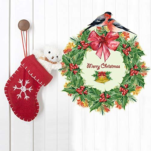 - Brave669 [Christmas Decoration]-Christmas Wreath Garland DIY Window Glass Decal Decor Removable Wall Sticker,Christmas Lights