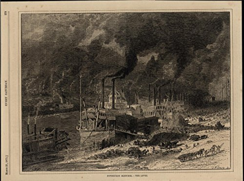 (Countless Smoke Stacks Pump Pollution in Air Pittsburgh 1871 nice antique print)